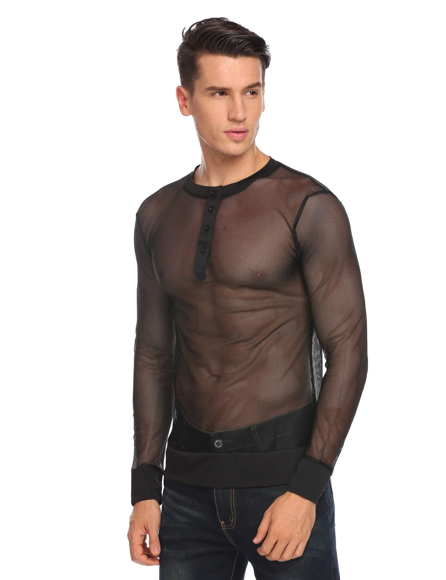 JINIDU Mens See Through Lace T-Shirts Long Sleeve Sexy Fashion Tees Tops (Small, Black2) by JINIDU