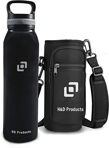Amazon Com H D Products 21 Oz Stainless Steel Water Bottle Flask Vacuum Insulated With Easy To Carry Handle Keeps Water Hot And Cold Sports Water Bottles For Workout Hiking