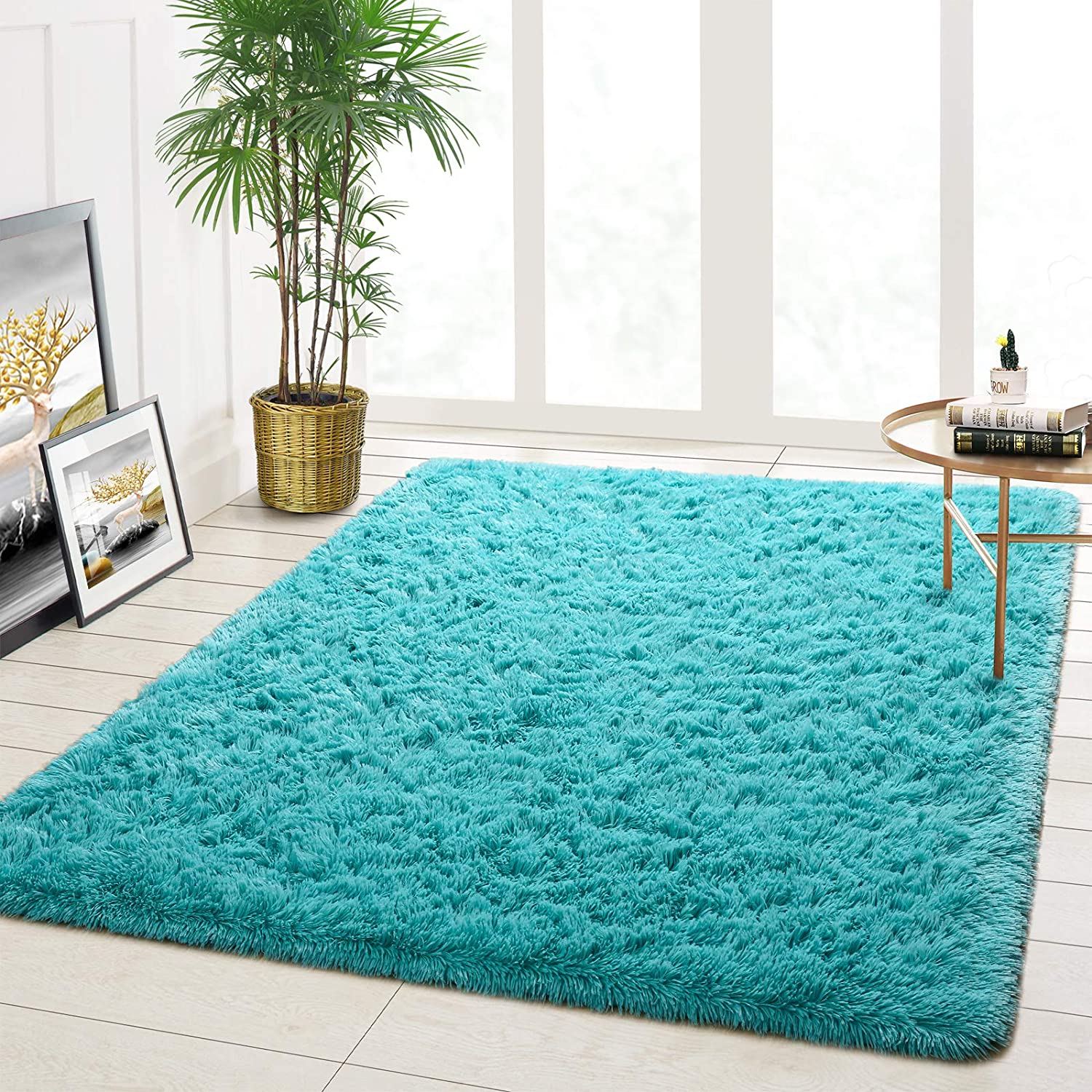 Goffee Ultra Soft Fluffy Area Rugs for Bedroom Living Room, Shaggy Rugs for Kids Boys Baby Room, Modern Furry Rugs Large Floor Carpet for Children Bedroom Dorm Home Decor, 4ft x 5.3ft, Blue