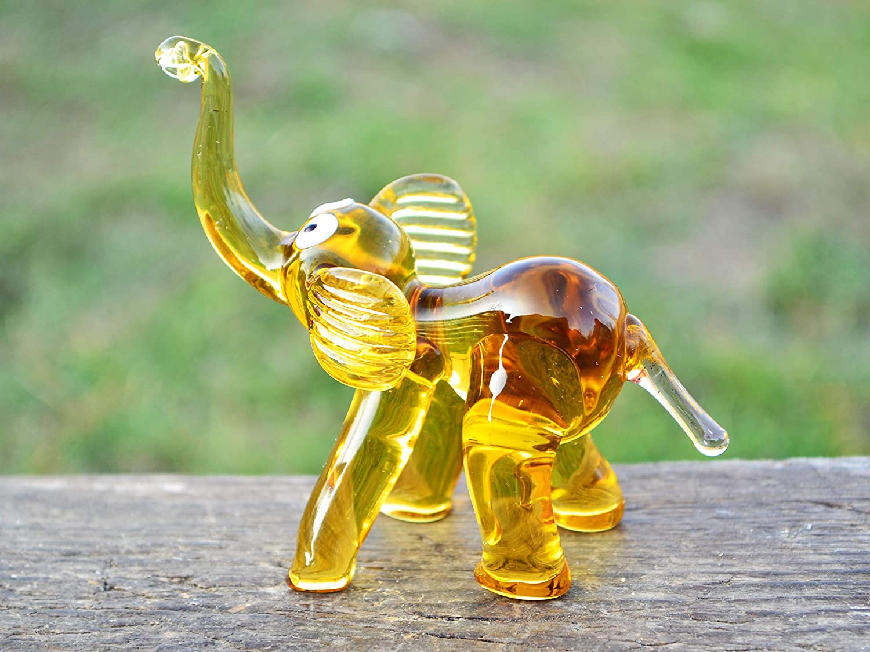 Murano art glass Amber yellow elephant figurine Collectible centerpiece Home decor Animal lovers gift Housewarming gift