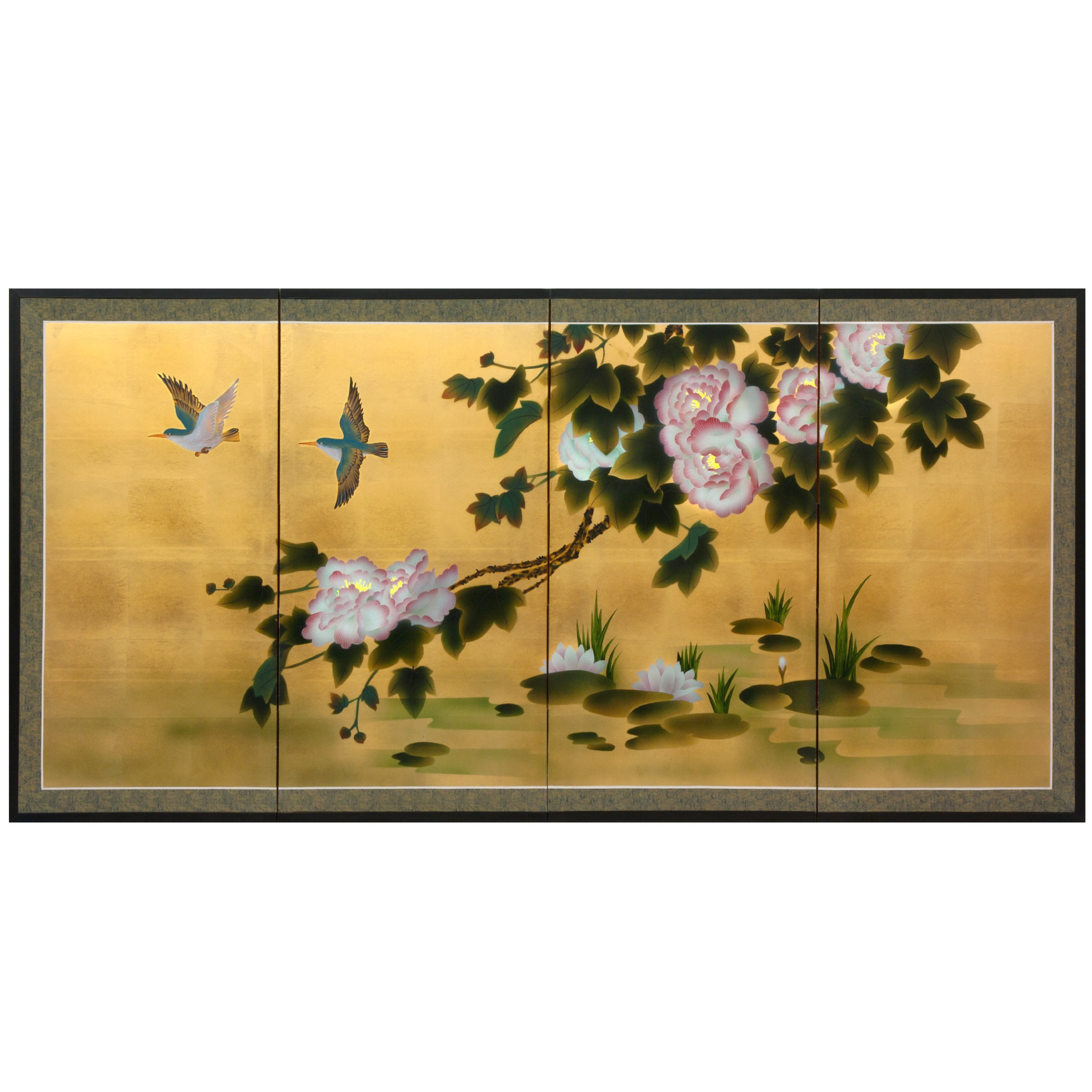 ORIENTAL Furniture 36'' Lilly Pad Pond on Gold Leaf,