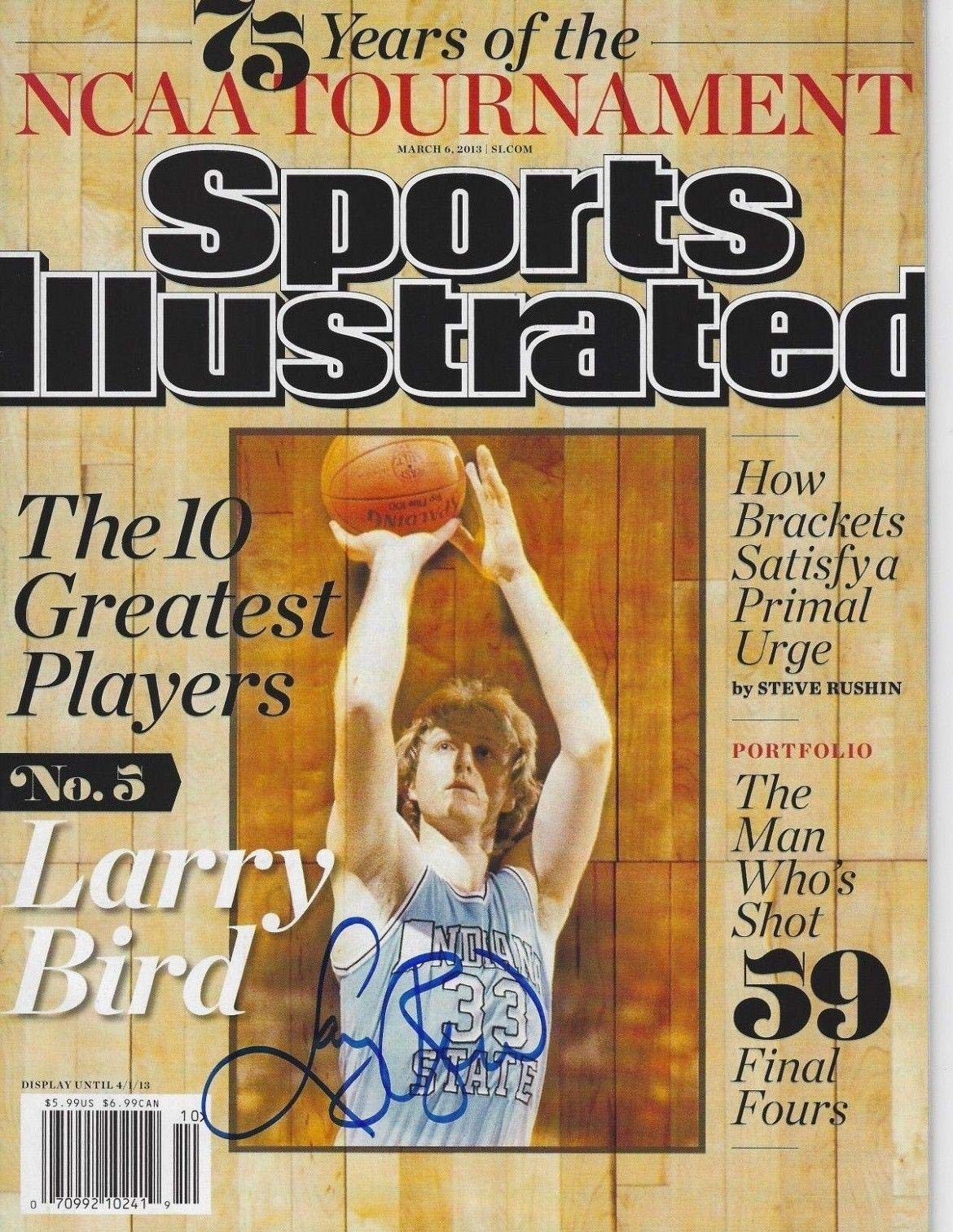 LARRY BIRD (Indiana St) Signed SPORTS ILLUSTRATED with Schwartz COA (NO LABEL) Autographed NBA Magazines