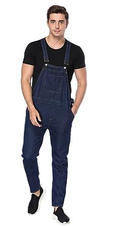 eab1bdcb5837 FEESON Men s Fashion Denim Blue Adjustable Waist Loose Fit Romper Overalls M