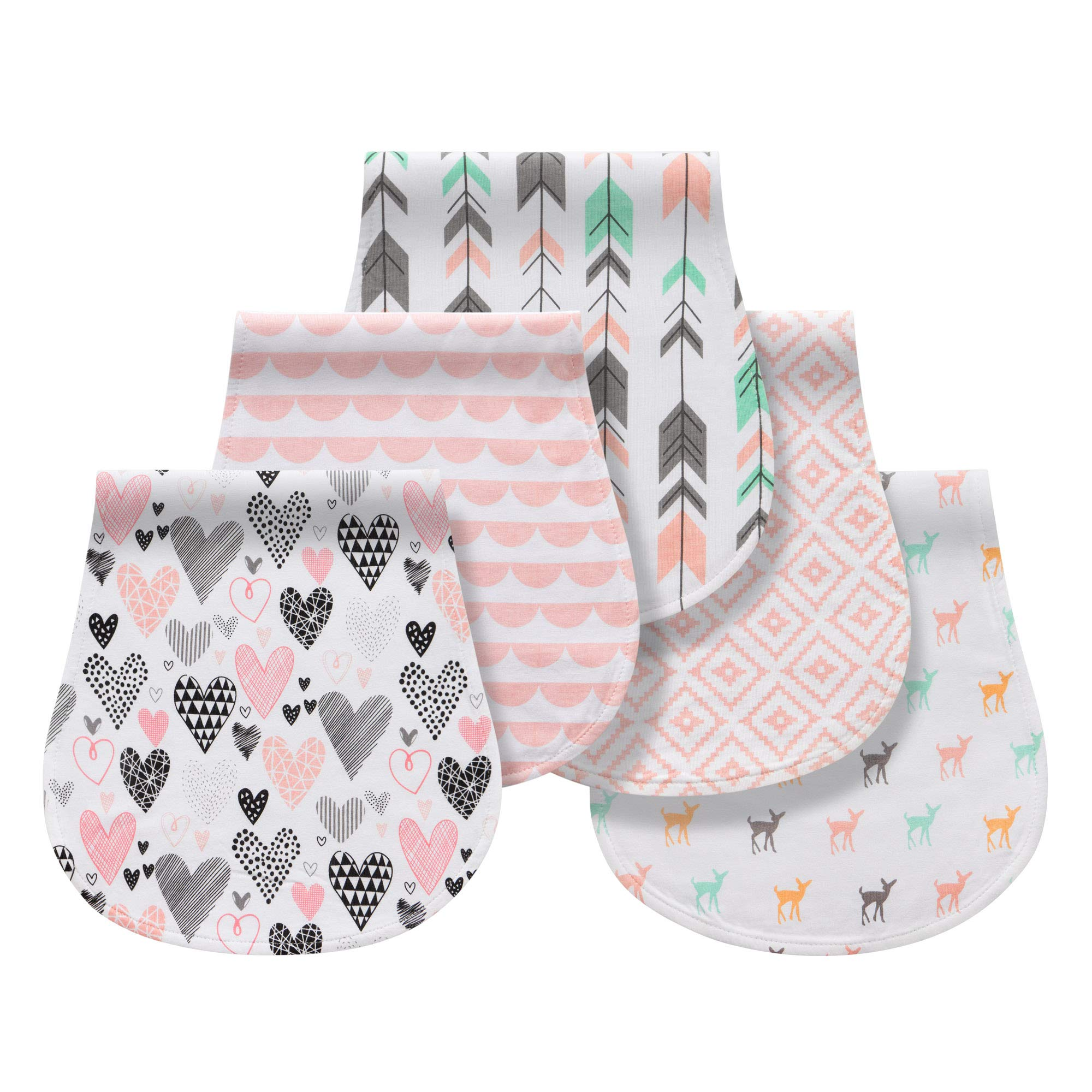 Burp Cloths for Baby Boy Girlfor Newborns, 100% Cotton Triple Layer Extra Soft & Absorbent Multi-UseInfant Burping Towels (Pink) by Queness