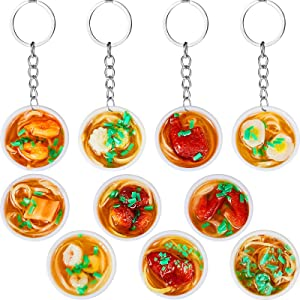 Hicarer 10 Pieces Imitation Food Keychain PVC Mini Simulation Flower Bowl Noodle Keychain Creative Mobile Phone Charm Bag with Pendant Keychain Cute Creative Delicious Food Key Ring