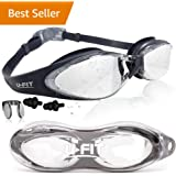 U-FIT Swimming Goggles - Swim Goggles For Men, Women, Adults, Youth, and Kids - Best Non Leaking, Anti-Fog, UV Protection, Clear Vision - Free Goggle Case, Nose and Ear Plugs