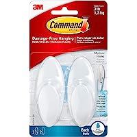 Command Bath Hook, Medium, Clear Frosted, 2-Hooks, 2-Medium Water Resistant Strips (BATH18-ES)