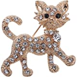 BESTIM INCUK Full Shining Clear Crystal Cat Brooches and Pins Wedding for Women Gift