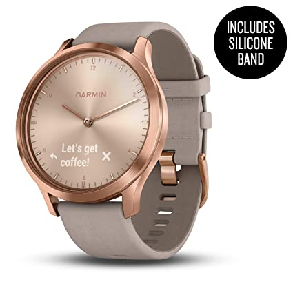 Garmin vívomove HR, Hybrid Smartwatch for Men and Women, Rose Gold w/Suede Band (Renewed)