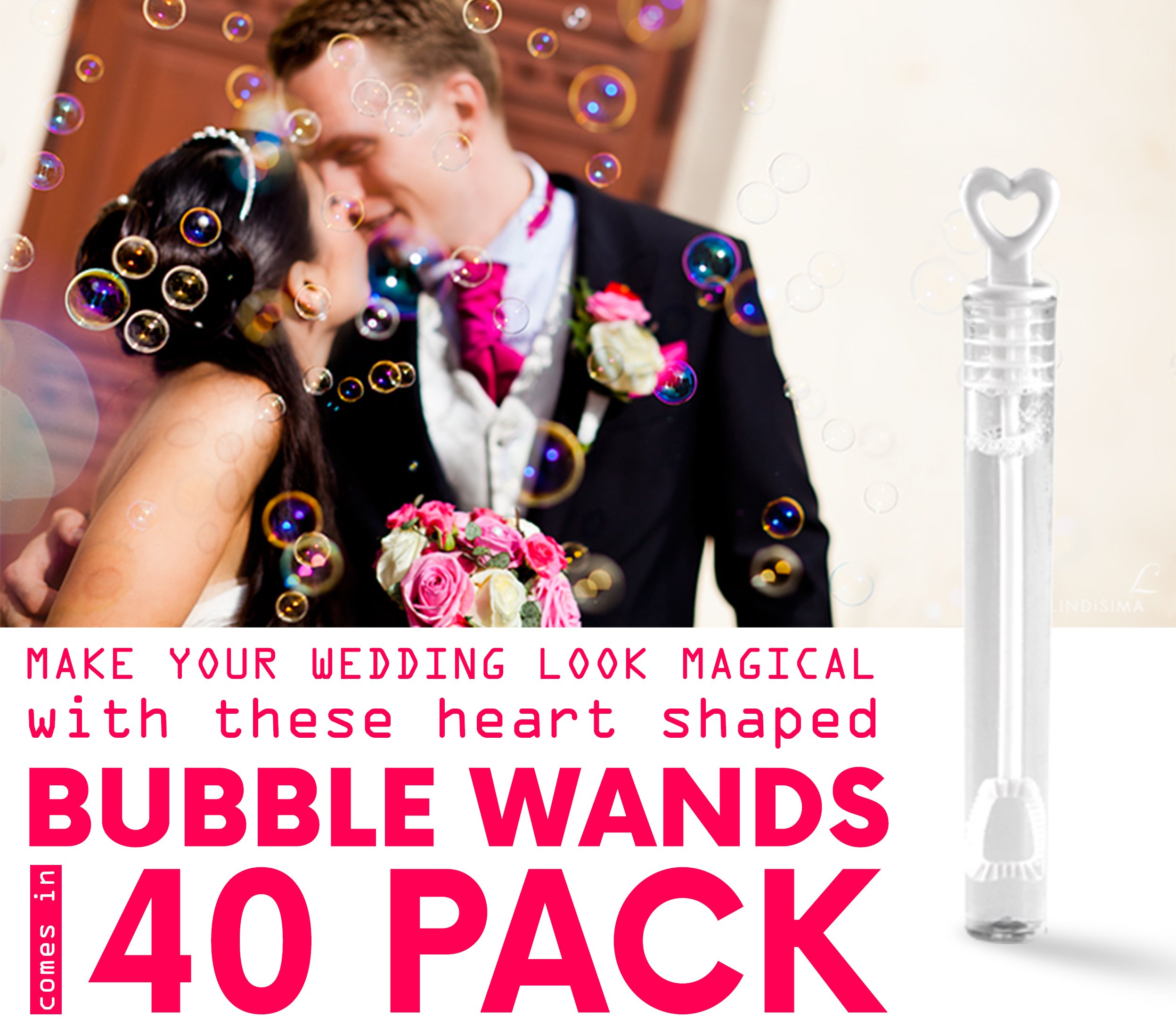 40 Pack Mini Heart Bubble Wands – Great Wand Bubbles Party Favors For Weddings and Anniversaries by Big Mo's Toys by Big Mo's Toys (Image #6)