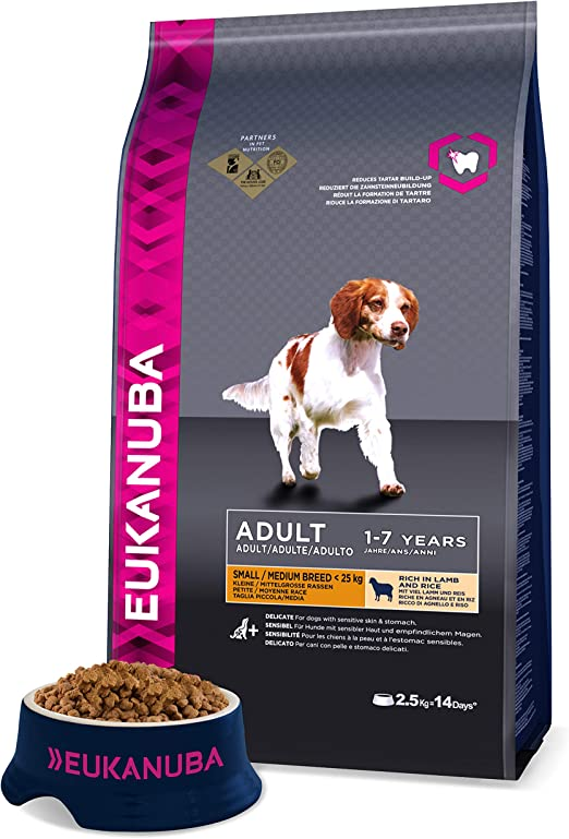 Comprar Eukanuba Adulto Raza pequeña y mediana Rico en cordero y arroz [2,5 Kg]