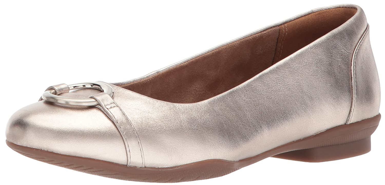 CLARKS Women's Neenah Vine Ballet Flat B072NDPSFK 8 W US Gold/Metallic Leather