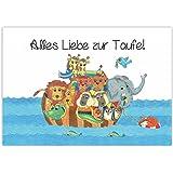 """Arche Noah mit Tieren - Glückwunsch zur Taufe """"Alles Liebe zur Taufe"""" Taufkarte, Babykarte, Karte Taufe, Baby, Mädchen, Junge,"""