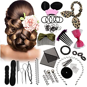 Samidy - Juego de 45 moldes de corona para hacer moños de pelo, ideales para hacer moños o moños: Amazon.es: Belleza