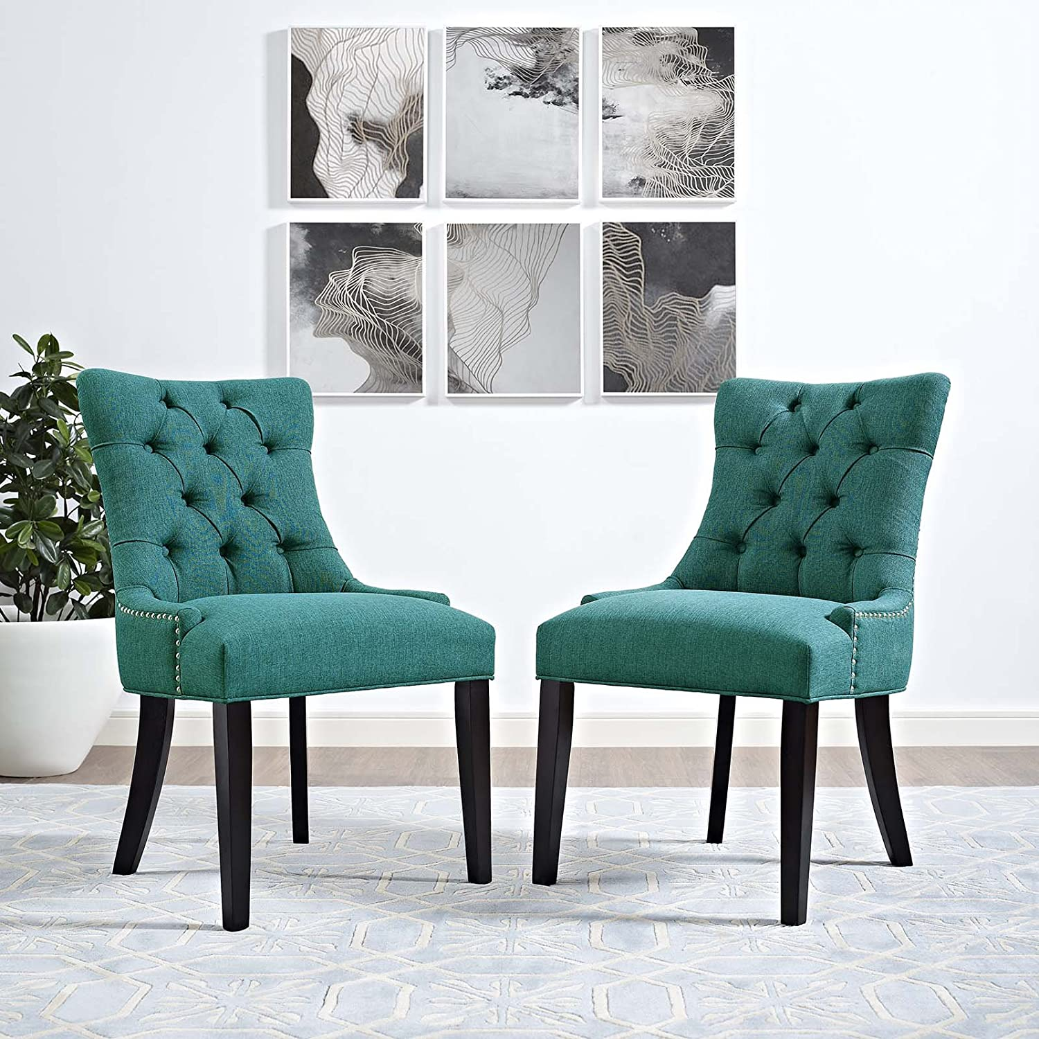 Modway Regent Modern Tufted Upholstered Fabric Two Kitchen and Dining Room Chairs with Nailhead Trim in Teal
