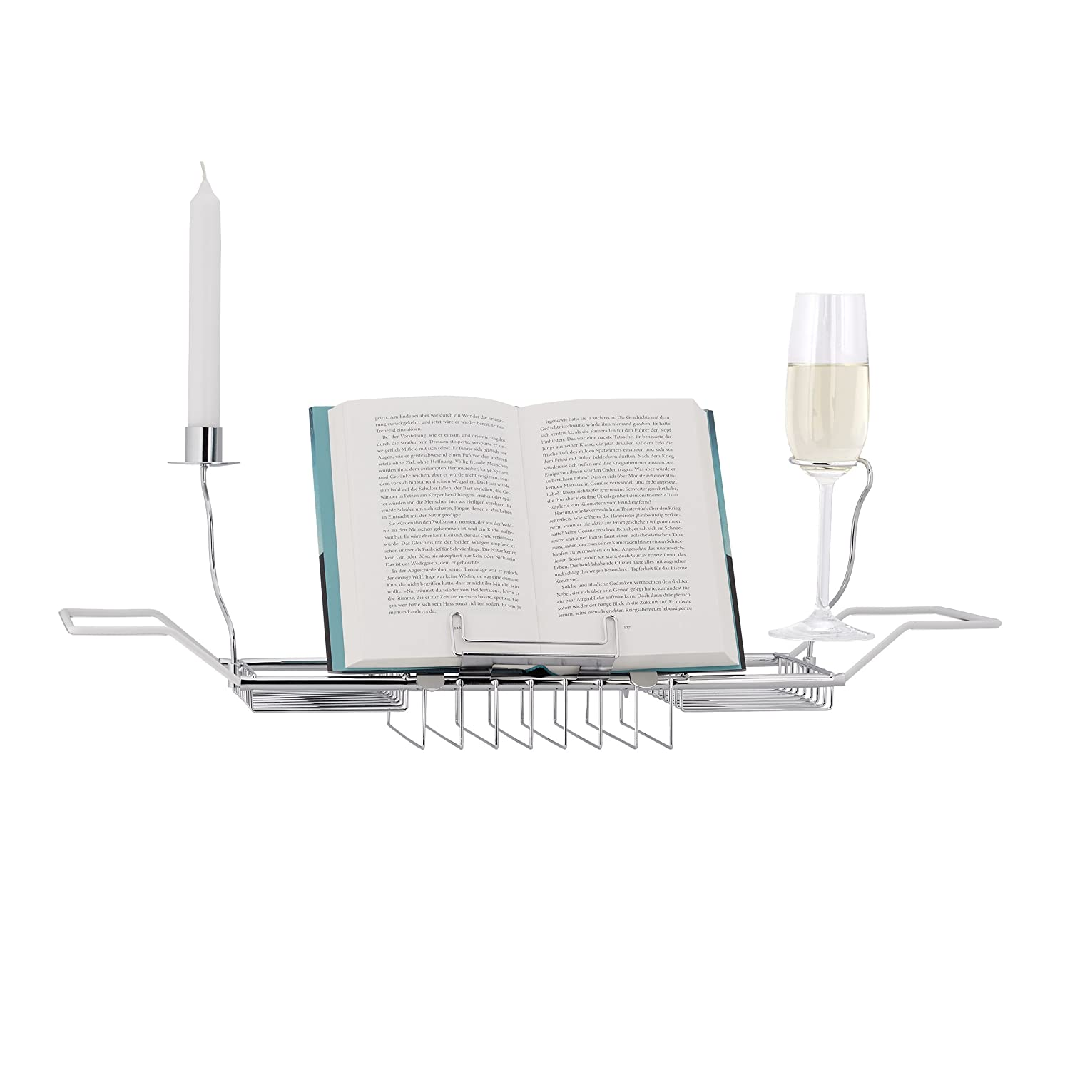 Relaxdays Bathtub Caddy, Book Stand, 2 Wine Glass Holders and Candle Holder, Stainless-Steel, White 10010133