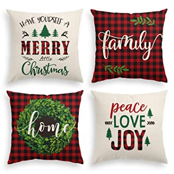 Amazon.com: AVOIN Merry Christmas Saying Throw Funda de ...