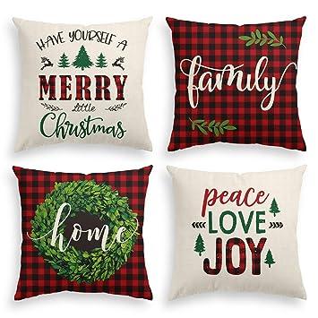 Amazon.com: AVOIN Merry Christmas Saying Throw Funda de ...