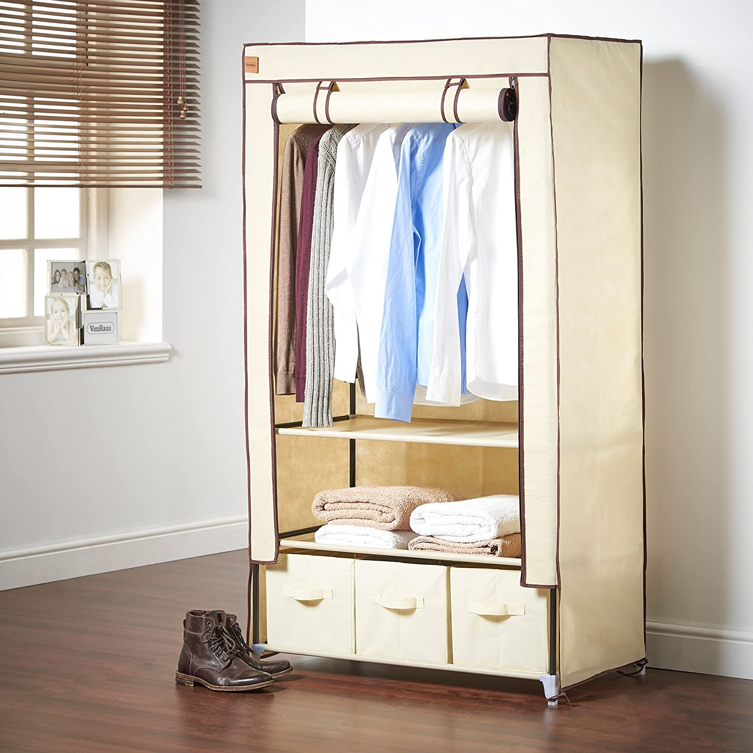 VonHaus Double Canvas Effect Wardrobe
