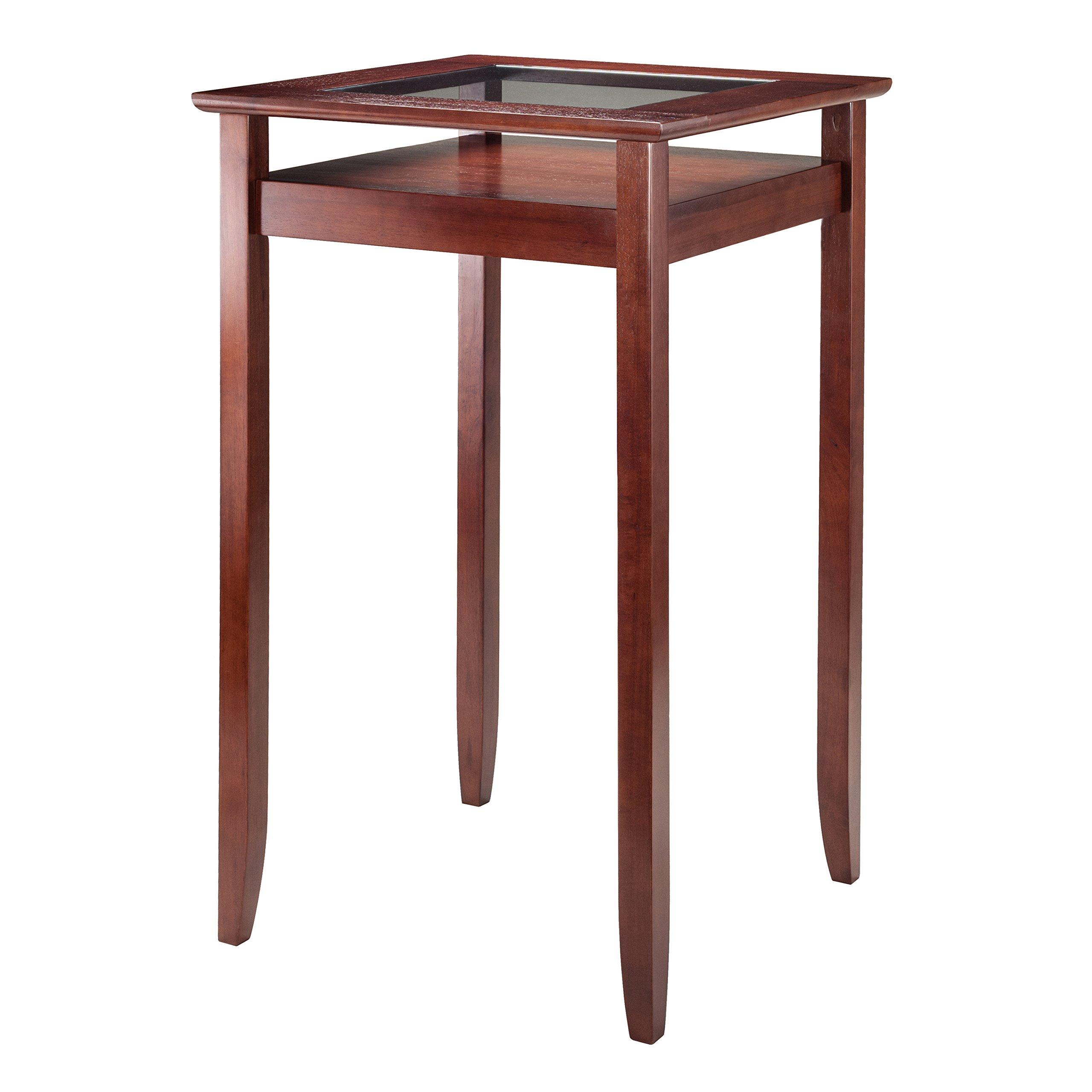 Winsome Wood Halo Pub Table with Glass Inset & Shelf, Walnut