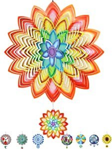 Denater Rainbow Lotus Wind Spinner Outdoor 12in Metal Yard Art for Home,Lawn Decor,Shining Mandala Wind Sculptures & Spinners,Suncatcher Windmill Ornaments with 3.54in Pendent(3D Stainless Steel