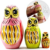 Owl Art Toy - Small Russian Nesting Dolls Owl Decorations for Home Shelf Decor Accents - Wood Owl Statue - Owl Gifts Decor Figurines