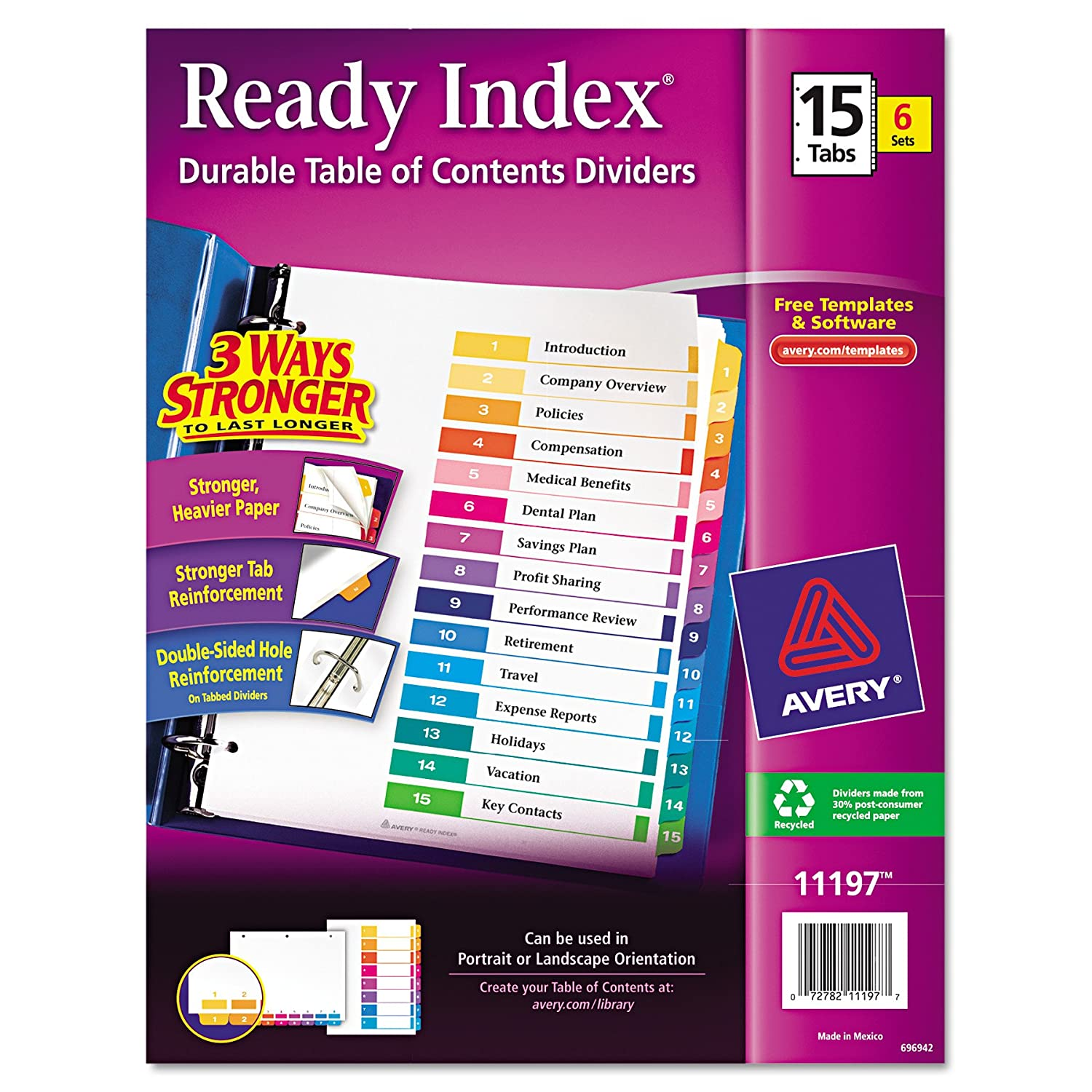 Amazon Avery Ready Index Table Of Contents Dividers 15 Tab