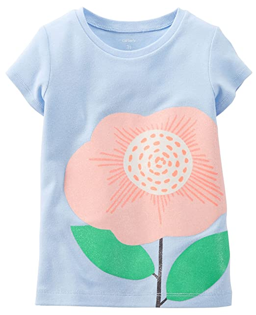 aede7f103 Amazon.com: Carters Little Girls Glitter Flower T-Shirt 4 Light blue ...