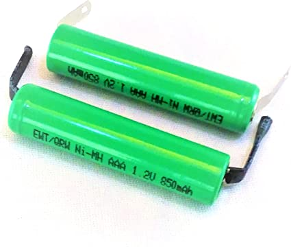 Amazon Com Combo 2 Pcs Aaa Nimh 800 850 Mah Flat Top Battery With Solder Tabs For Electric Shavers Razors And Battery Packs Home Audio Theater
