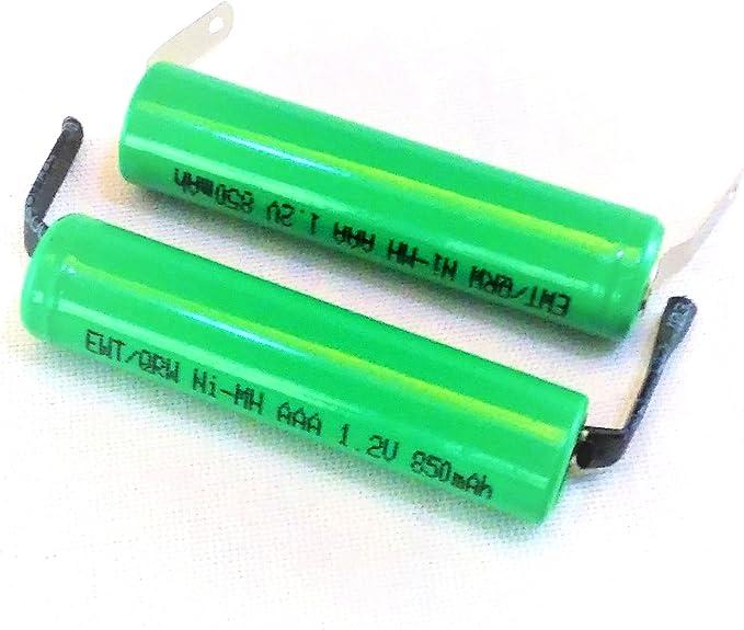 Combo: 2 Piezas AAA NiMh 800/850 mAh batería Plana con pestañas de ...