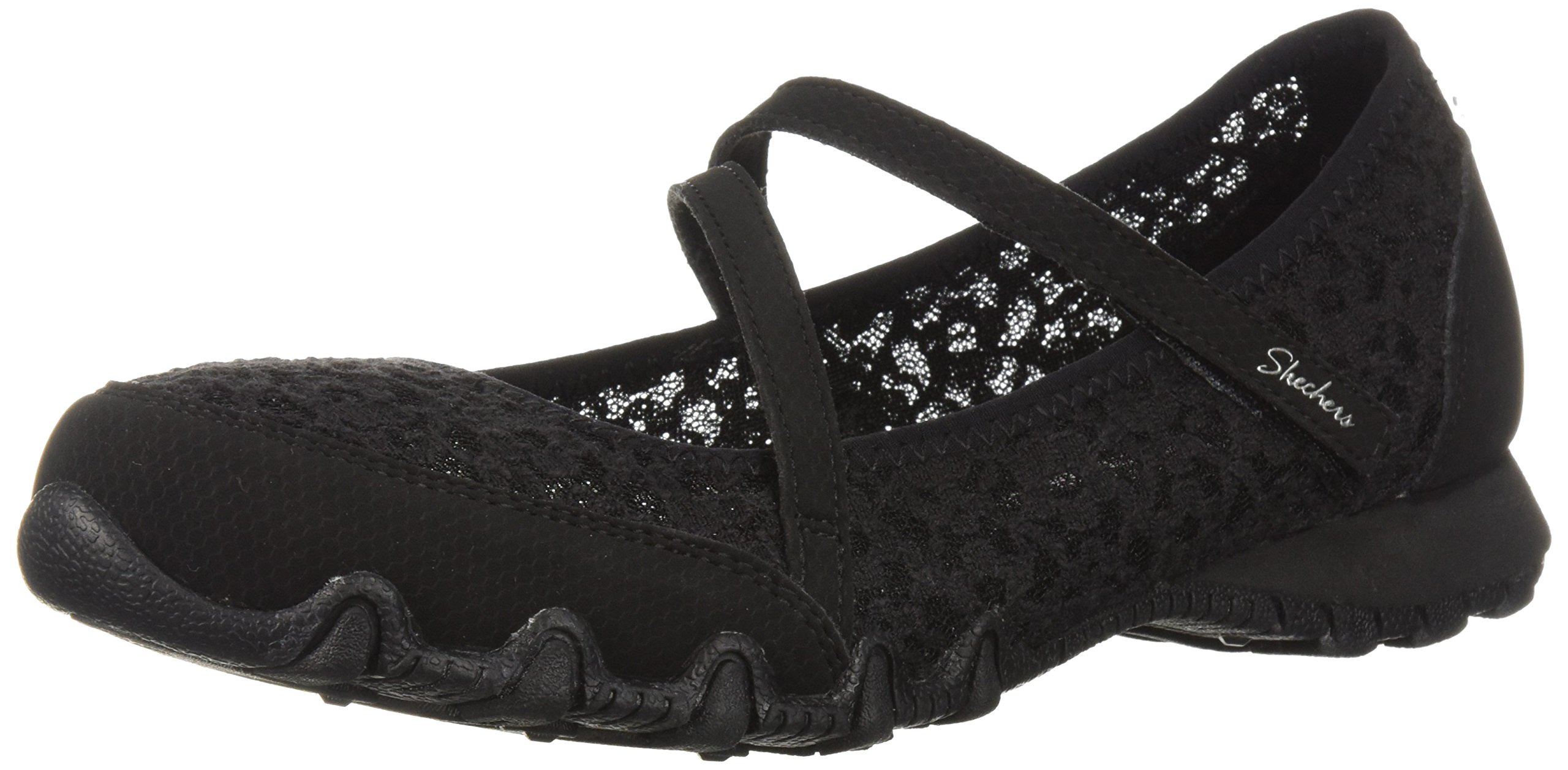Skechers Women's Bikers-Provocative Laced Upper Detail, a Relaxed Fit Mary Jane Flat, Black, 7 M US