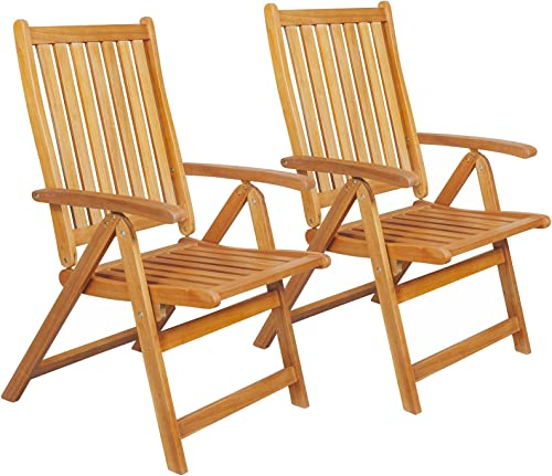 Northlight Set of 2 Brown Acacia Folding Chairs Outdoor Patio Furniture 42