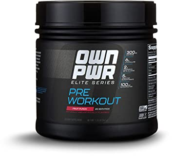 OWN PWR Elite Series Pre Workout Powder, Fruit Punch, 25 Servings, with 5g