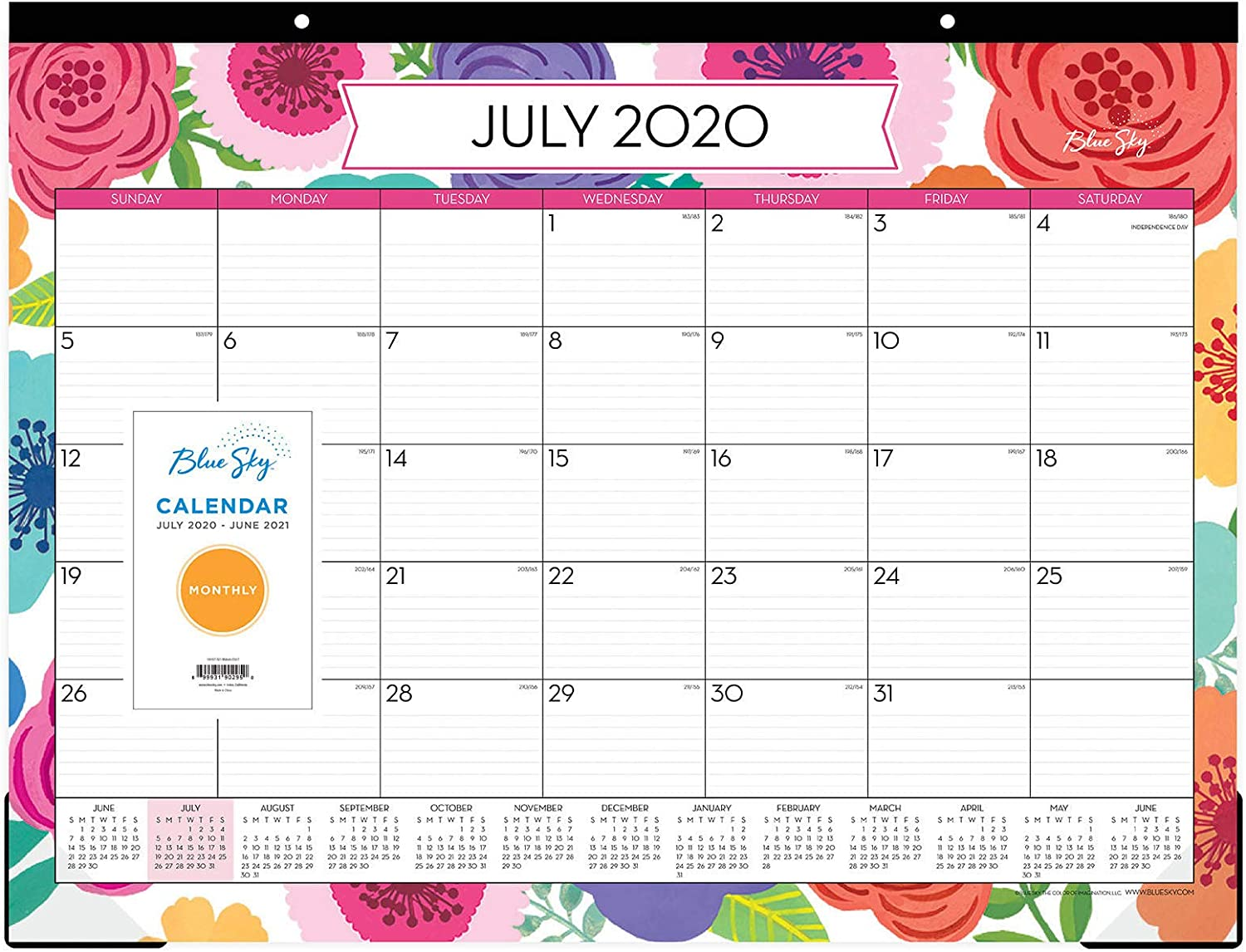 Blue Sky 2020-2021 Academic Year Monthly Desk Pad Calendar, Trim Tape Binding, Two-Hole Punched, Ruled Blocks, 22