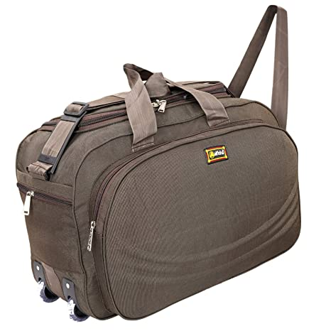 Alfisha Unisex Lightweight Waterproof Polyester Brown Travel Duffel Bag  Luggage with Roller Wheels  Amazon.in  Bags b54333f4231d1
