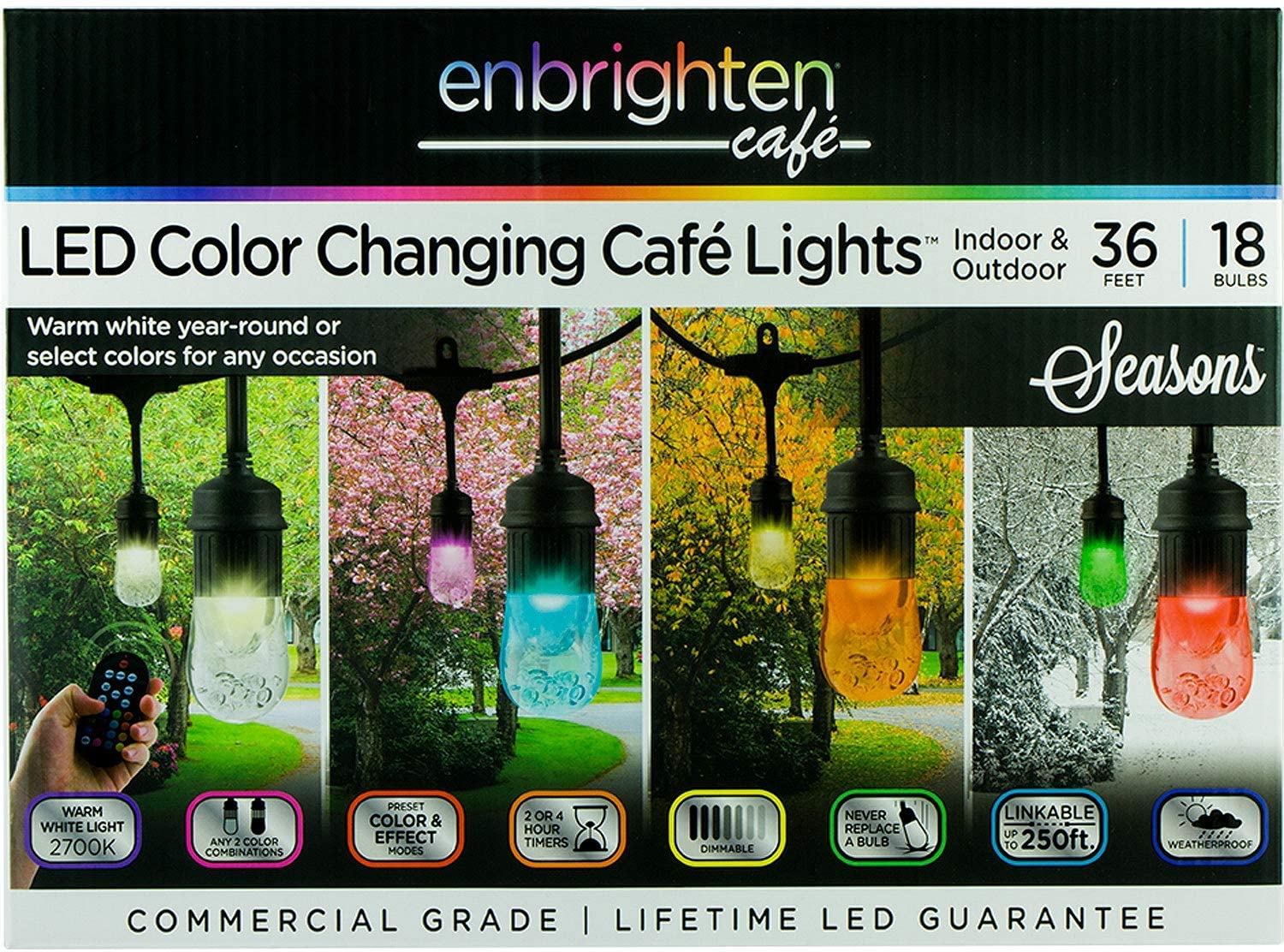 Enbrighten Vintage Seasons LED Warm White and Color Changing Café String Lights (36ft.), Wireless, 18 Lifetime Bulbs, Premium, Weatherproof, Indoor/Outdoor, Shatterproof, Commercial Grade, 37790