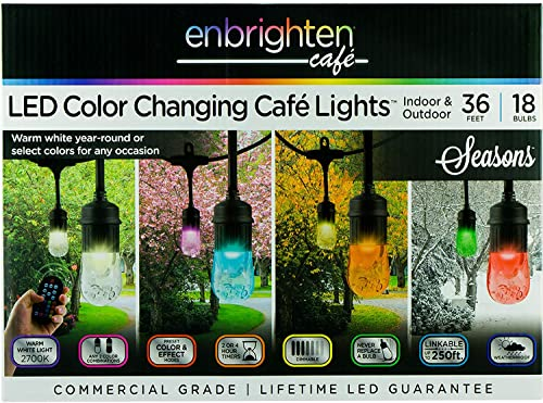Enbrighten Vintage Seasons LED Warm White and Color Changing Caf String Lights 36ft. , Wireless, 18 Lifetime Bulbs, Premium, Weatherproof, Indoor Outdoor, Shatterproof, Commercial Grade, 37790