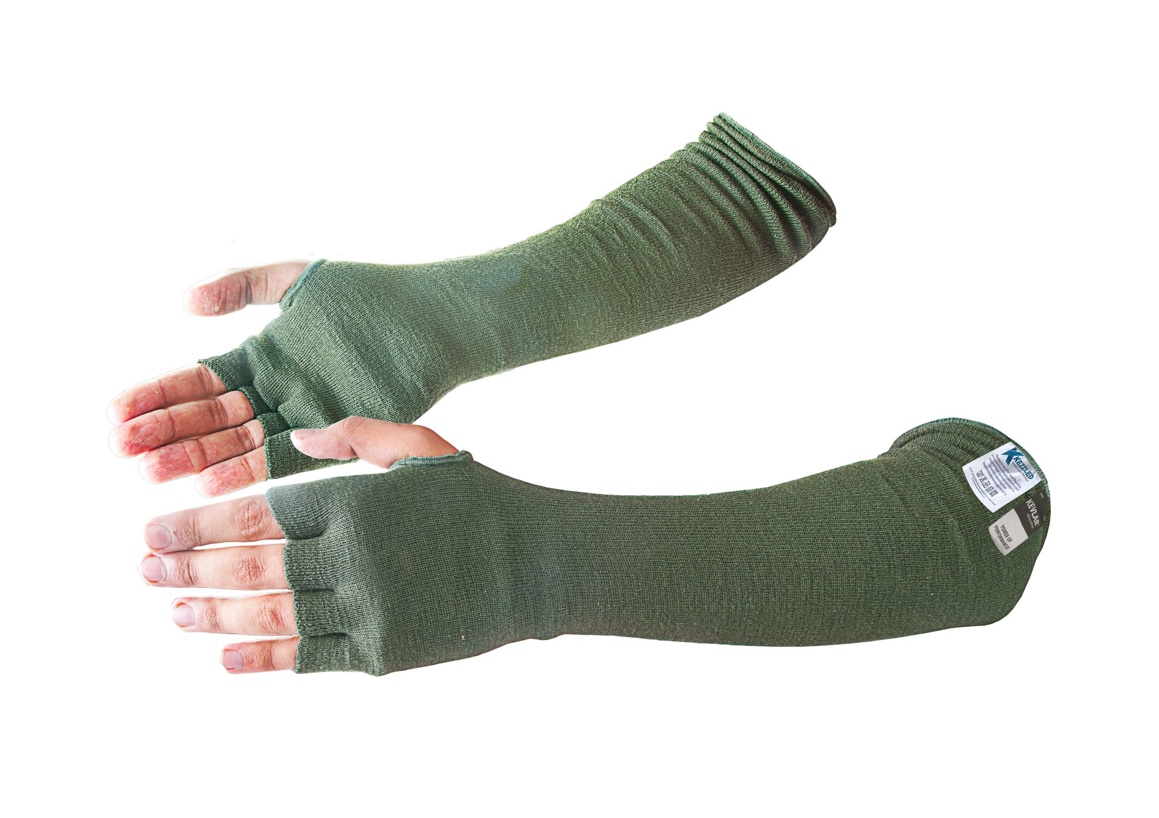 Kevlar Cut & Heat Resistant Designer Arm Sleeves with Finger Openings - Sage Green 18 inches by Kezzled