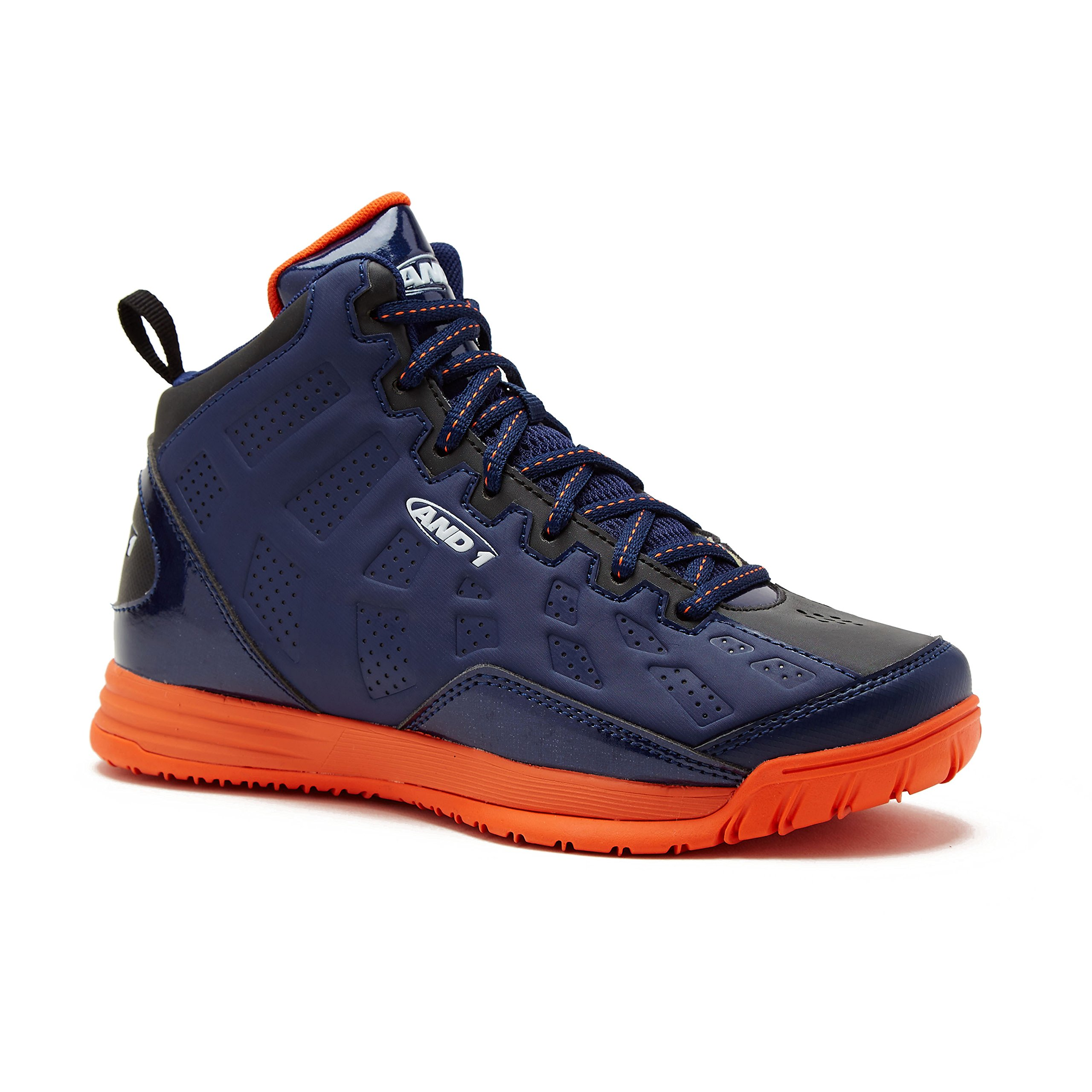 AND1 Kids Show Out Basketball Shoe, 5 M US Big Kid Navy/Blue/Orange by AND1