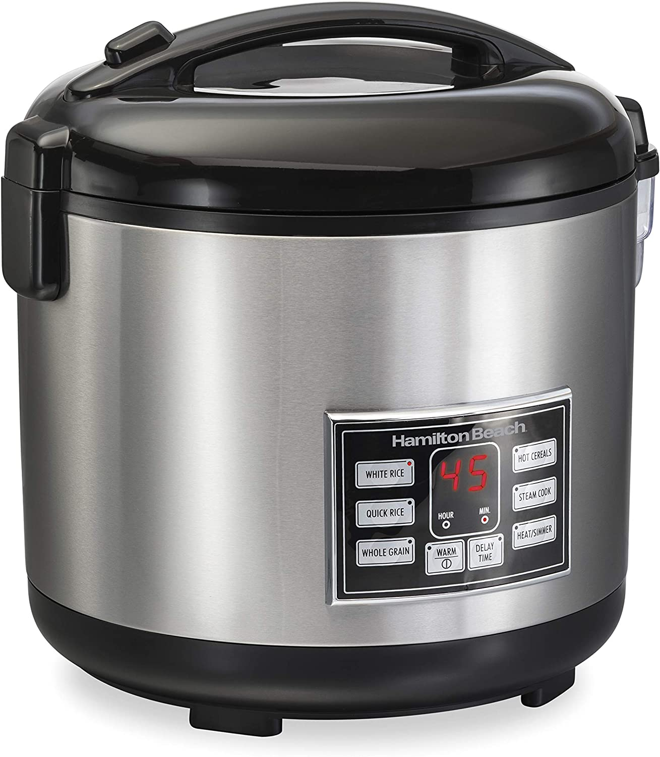 Hamilton Beach Digital Programmable Rice Cooker & Food Steamer, 20 Cups Cooked (10 Uncooked), With Steam & Rinse Basket, Stainless Steel (37543)