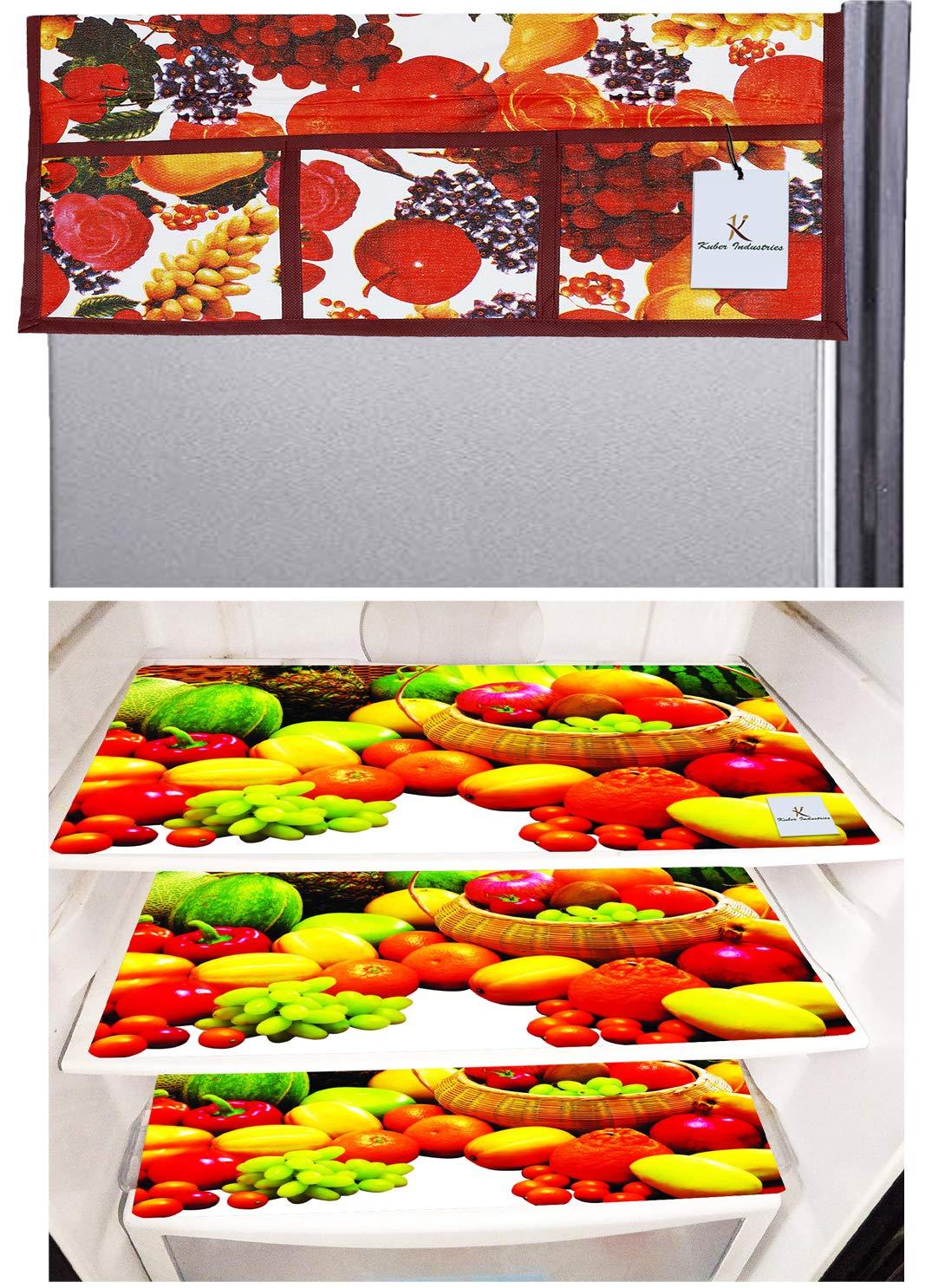 Buy Kuber Industries Fruits Design 3 Pieces Pvc Fridge Mats And 1