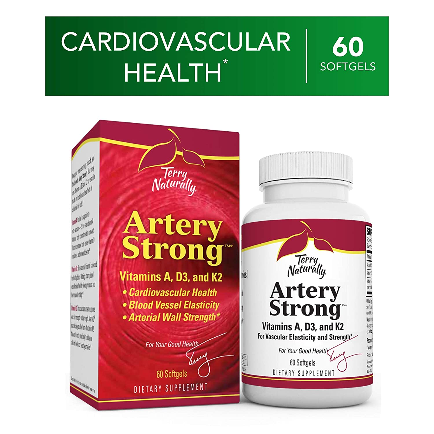 Terry Naturally Artery Strong – 60 Softgels – Vitamin A, D3 K2 Supplement, Promotes Vascular Energy Strength, Supports Cardiovascular Health – Non-GMO, Gluten-Free – 60 Servings