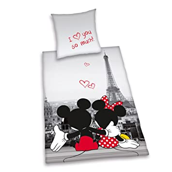 Herding 487809050412 Bettwäsche Mickey Und Minnie Mouse Paris