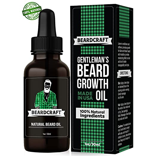 Beard Oil for Men - USA-Made Formula - Natural Unscented Beard Growth Oil for Fuller and Thicker Beard -Best Organic Mustache Conditioner Softener