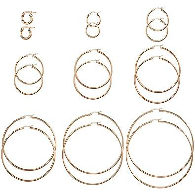 Amazon.com: Jstyle 3 – 9 pares de pendientes de aro de acero ...