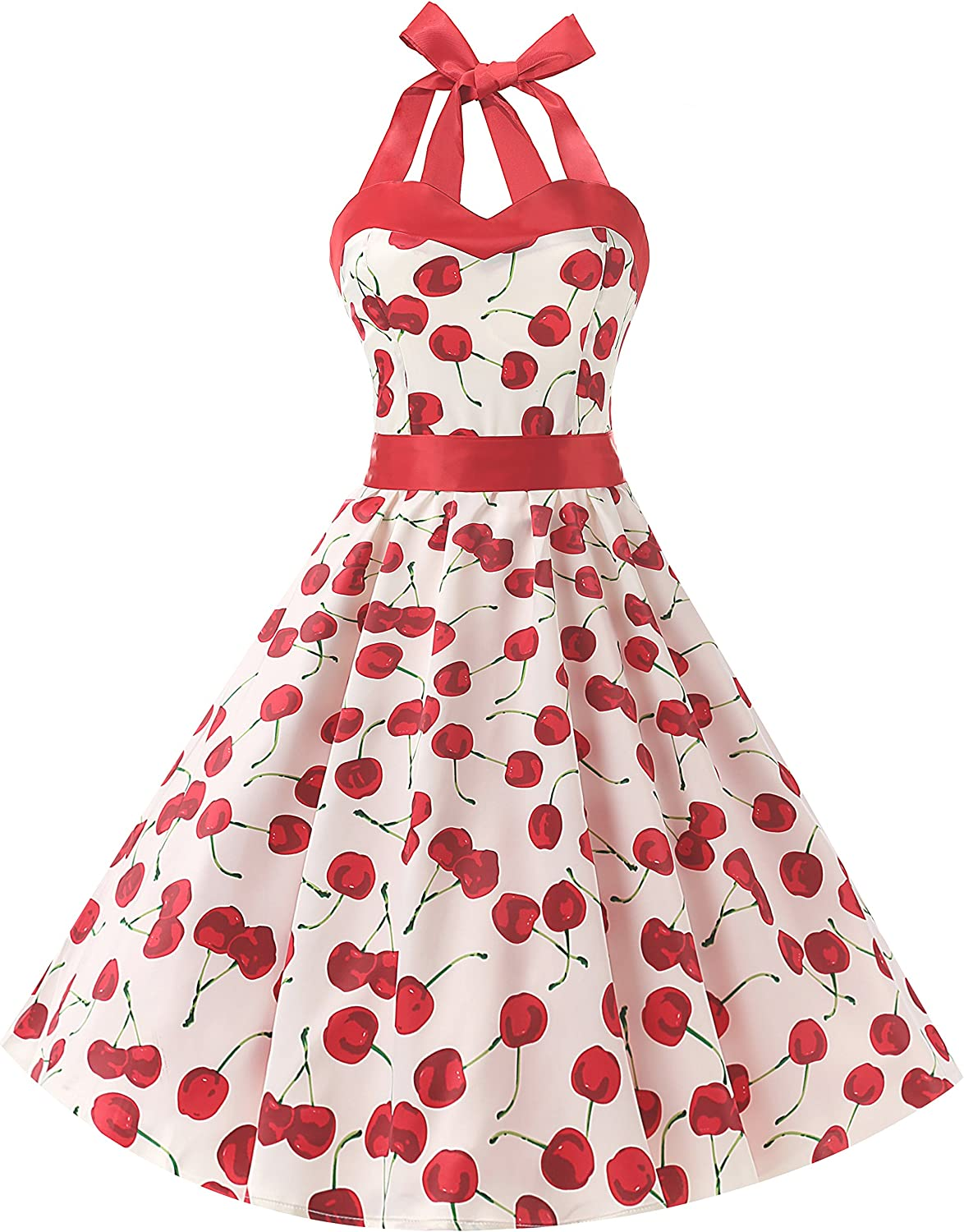 TALLA L. Dresstells® Halter 50s Rockabilly Polka Dots Audrey Dress Retro Cocktail Dress Cherry White L
