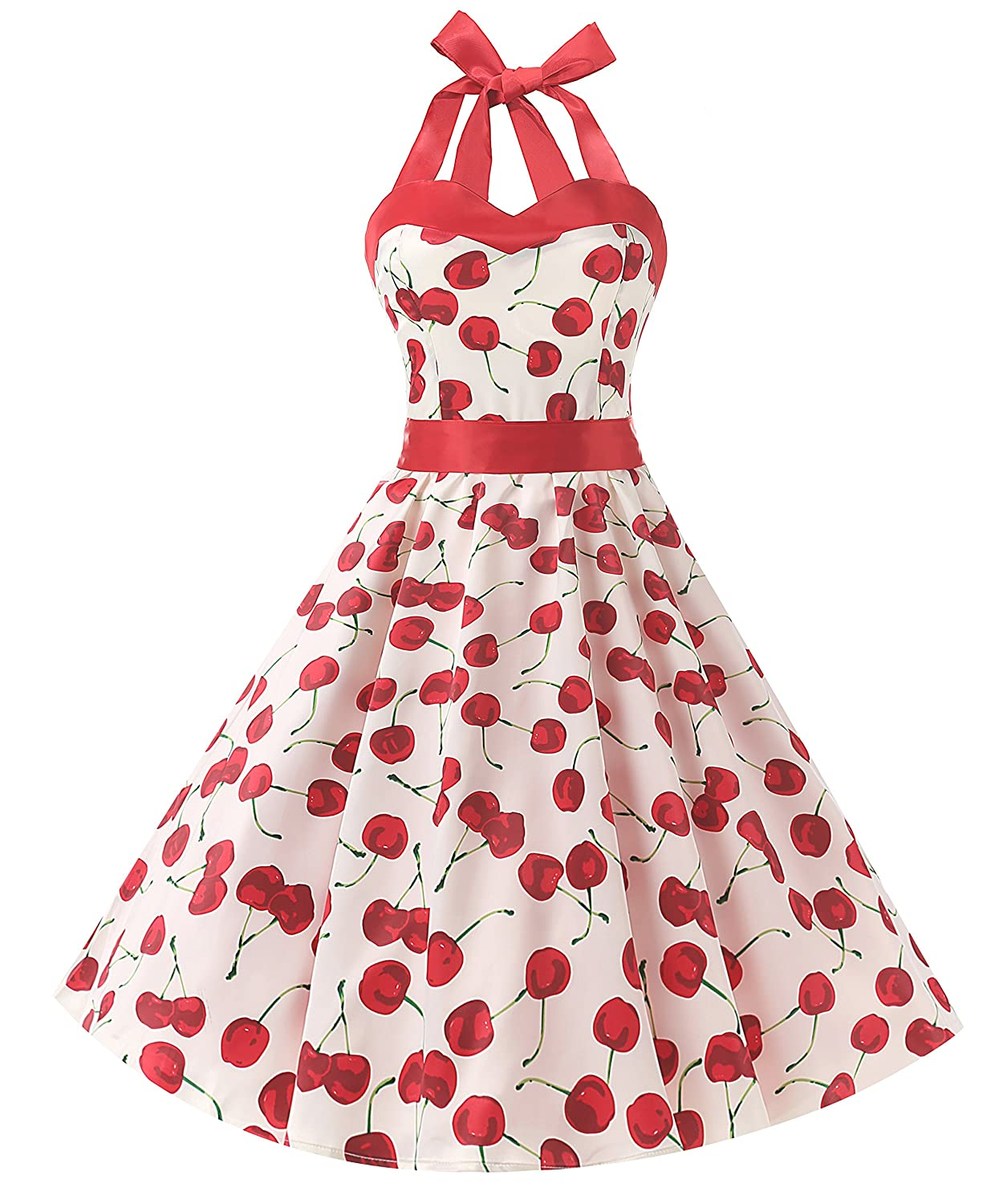 TALLA 3XL. Dresstells® Halter 50s Rockabilly Polka Dots Audrey Dress Retro Cocktail Dress Cherry White 3XL