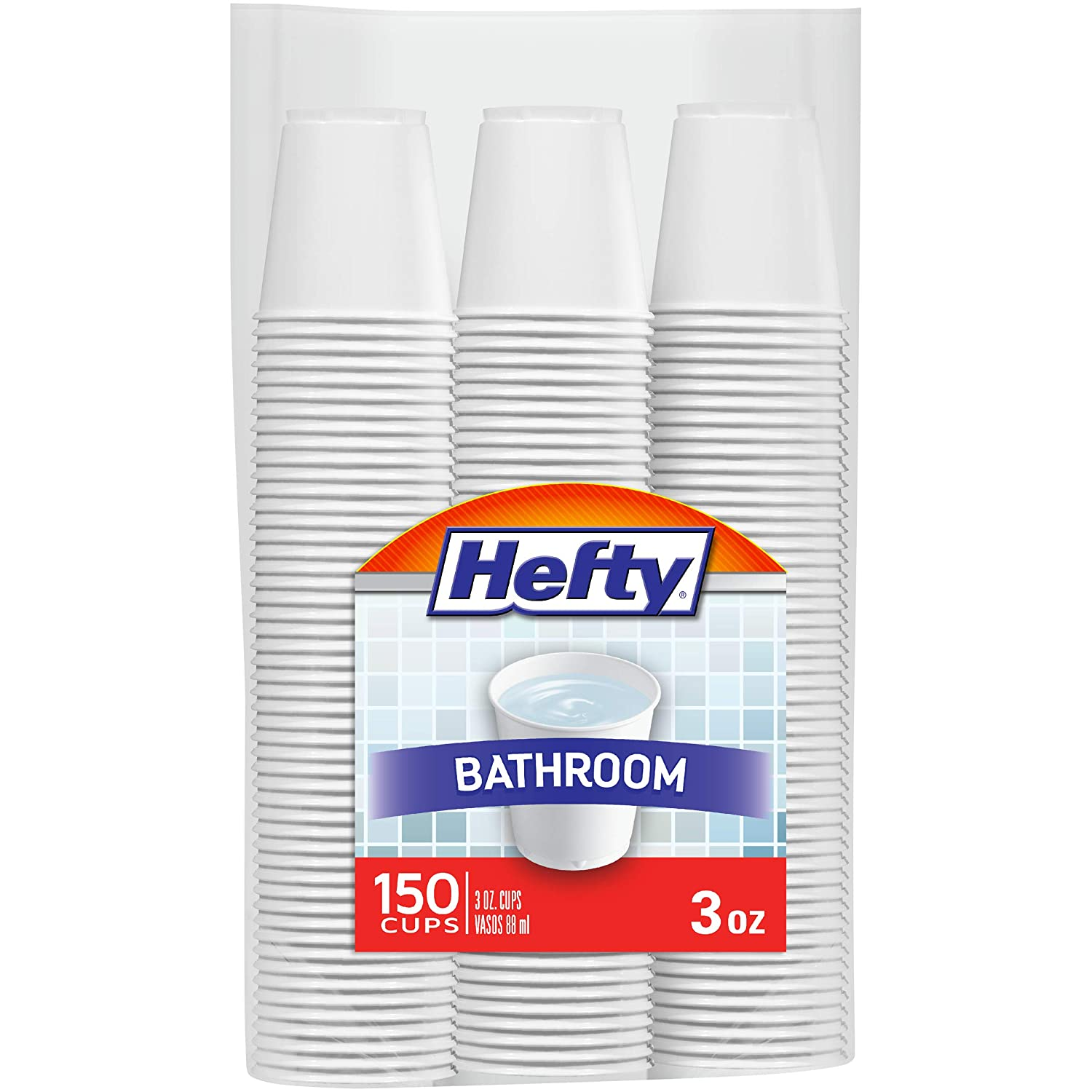 Hefty White Plastic Bathroom Cups - 3 Ounce, 150 Count