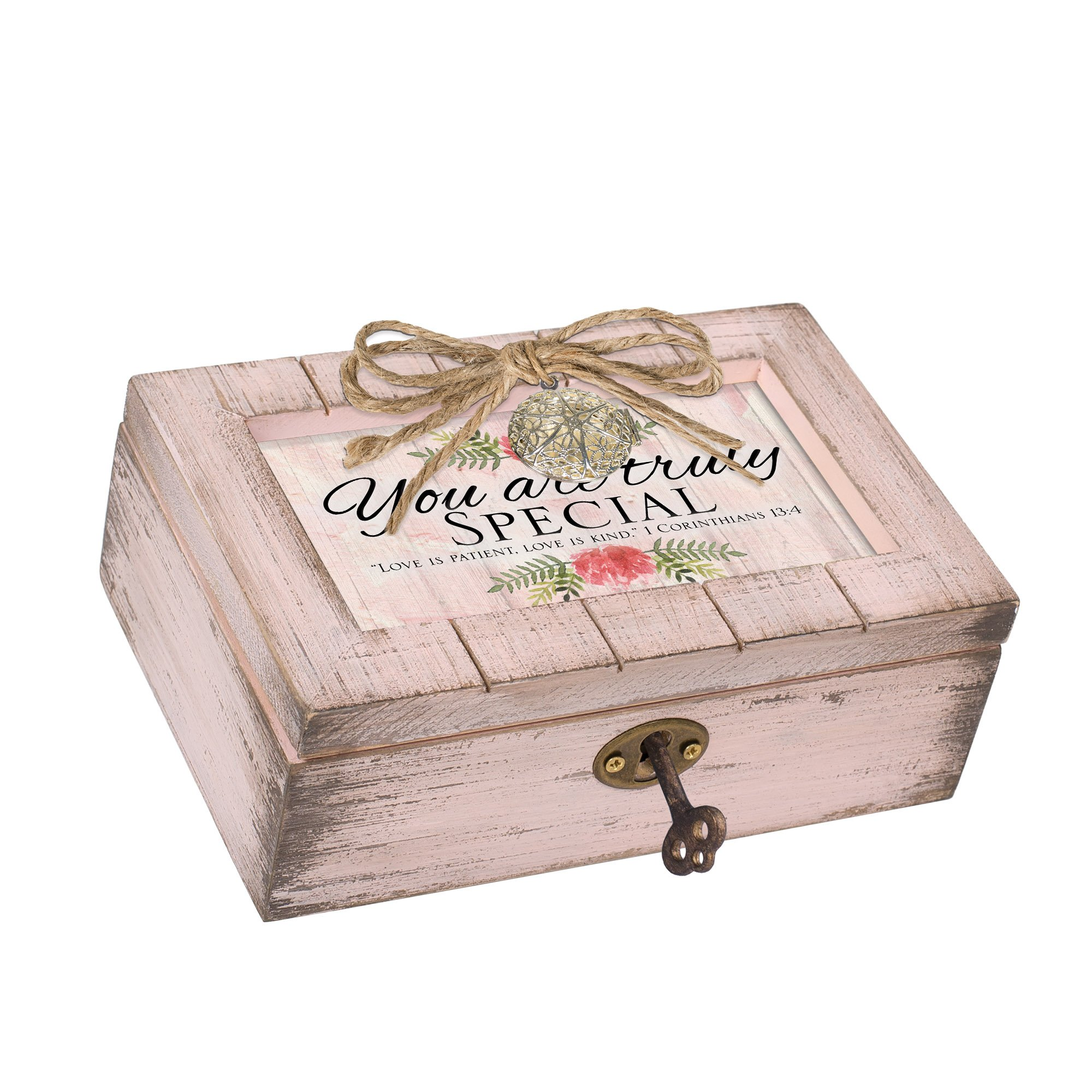 Cottage Garden You Are Truly Special Blush Pink Distressed Locket Petite Music Box Plays Amazing Grace