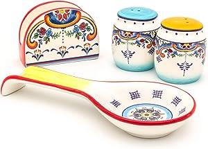 Euro Ceramica Zanzibar Collection Vibrant Ceramic Tableware Necessities, 4 Piece Completer Set, Spanish Floral Design, Multicolor